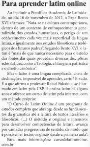 PARA APRENDER LATIM ON LINE - FONTE_JORNAL O SÃO PAULO