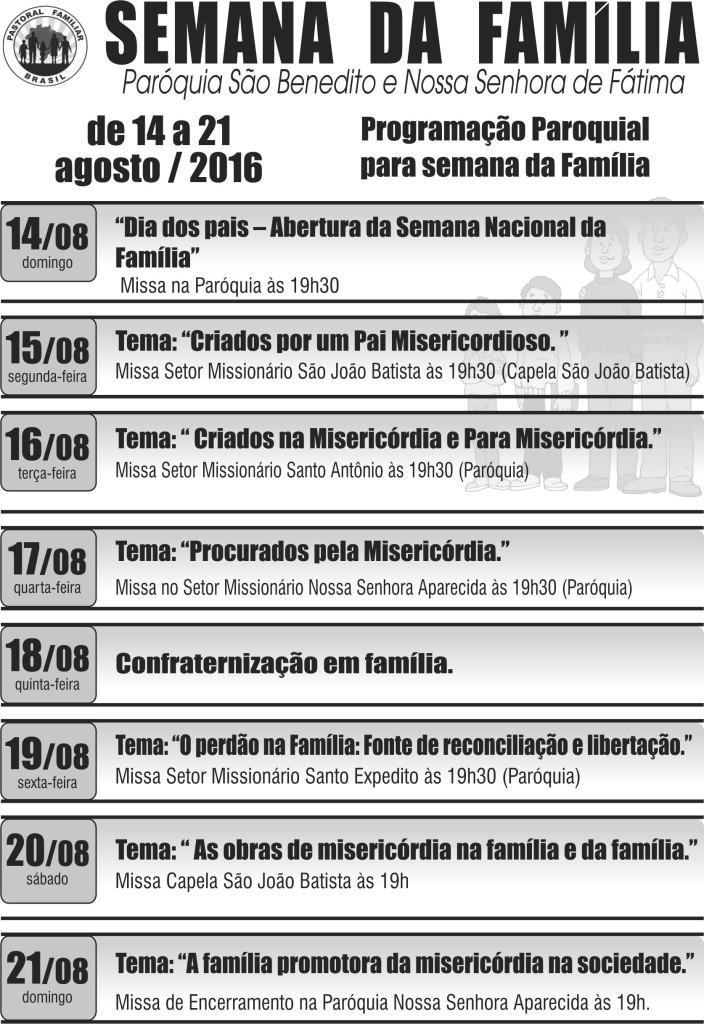 Semana da Familia-Panfleto Sao Benedito VOTUPORANGA