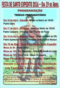 Panfleto Festa Santo Expedito Abril 2016