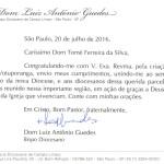 Saudação de Dom Luiz Guedes pela criação da Diocese de Votuporanga