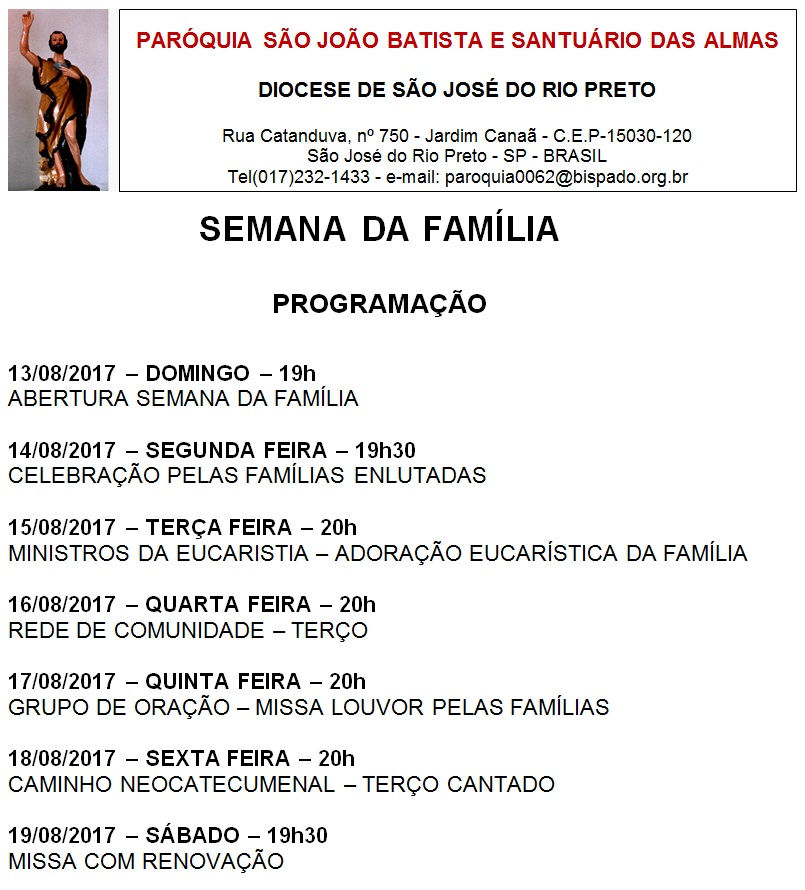SÃO JOÃO BATISTA E SANTUÁRIO DAS ALMAS