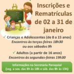 Inscrições e rematrículas para a Catequese na Catedral de São José