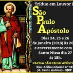 Tríduo em louvor à São Paulo Apóstolo