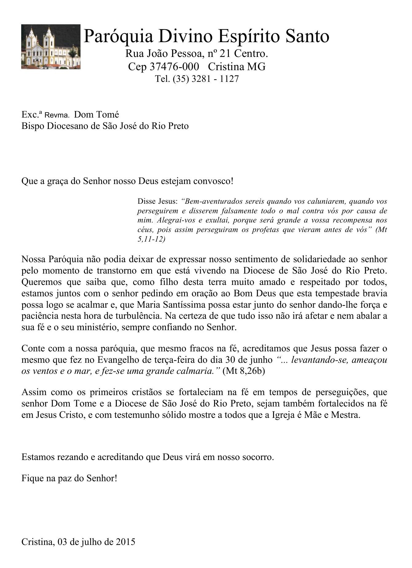 Carta em apoio a Dom Tomé
