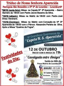 Tríduo Nª Sª Aparecida Lourdes-SP