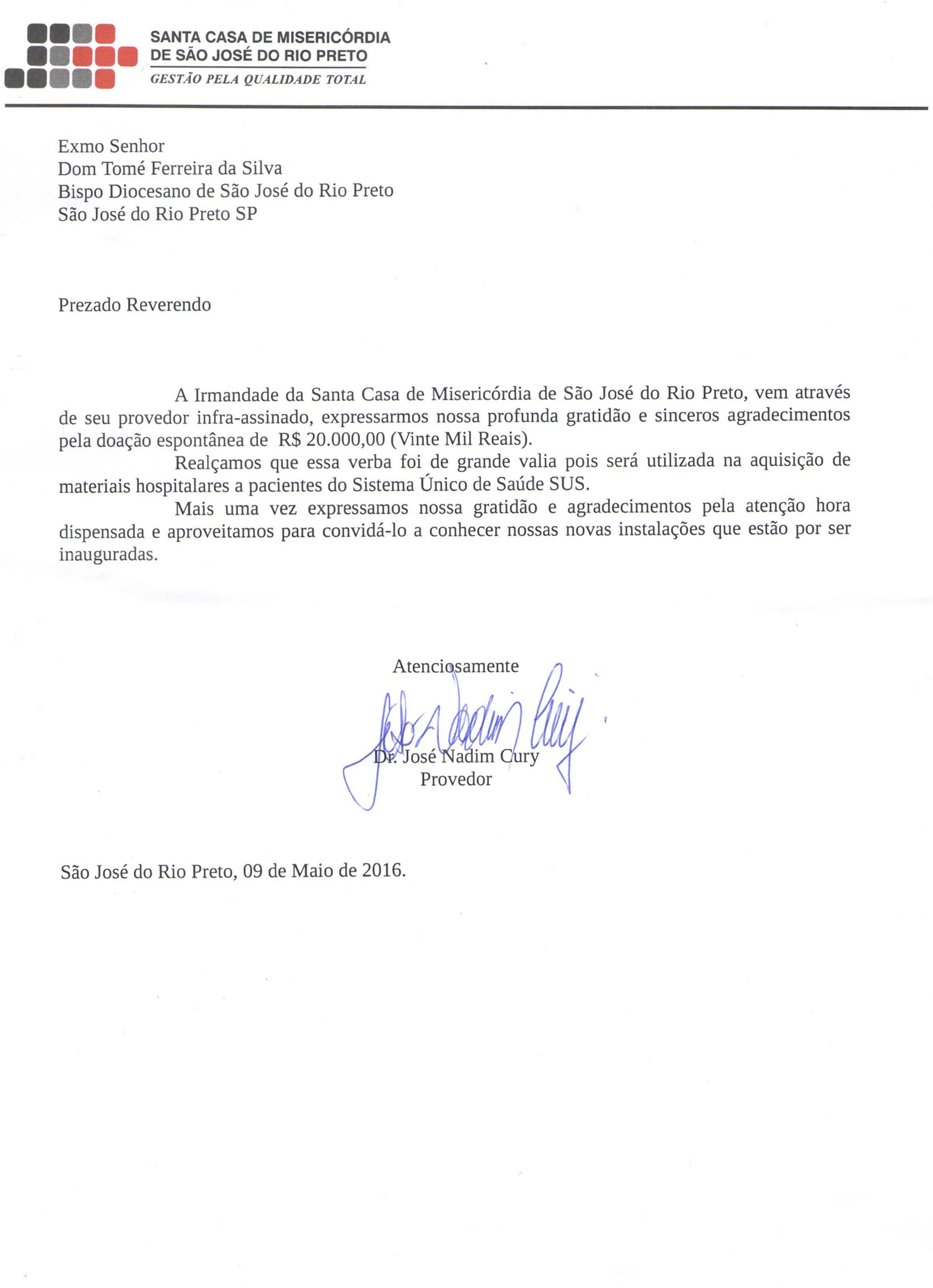 Diocese recebe carta de gratidão da Santa Casa de Misericórdia