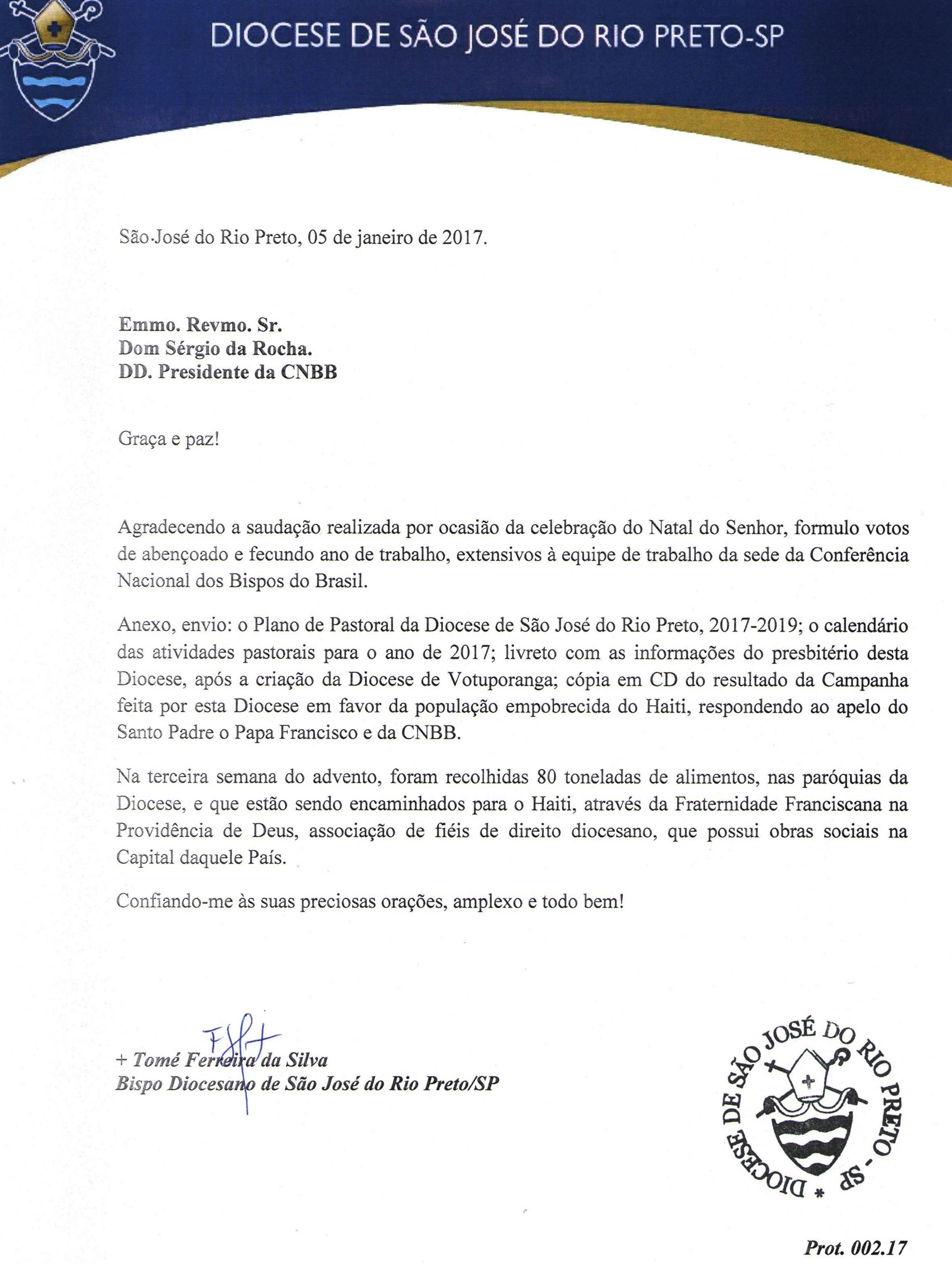 Carta de Dom Tomé a Dom Sérgio da Rocha, Presidente da CNBB