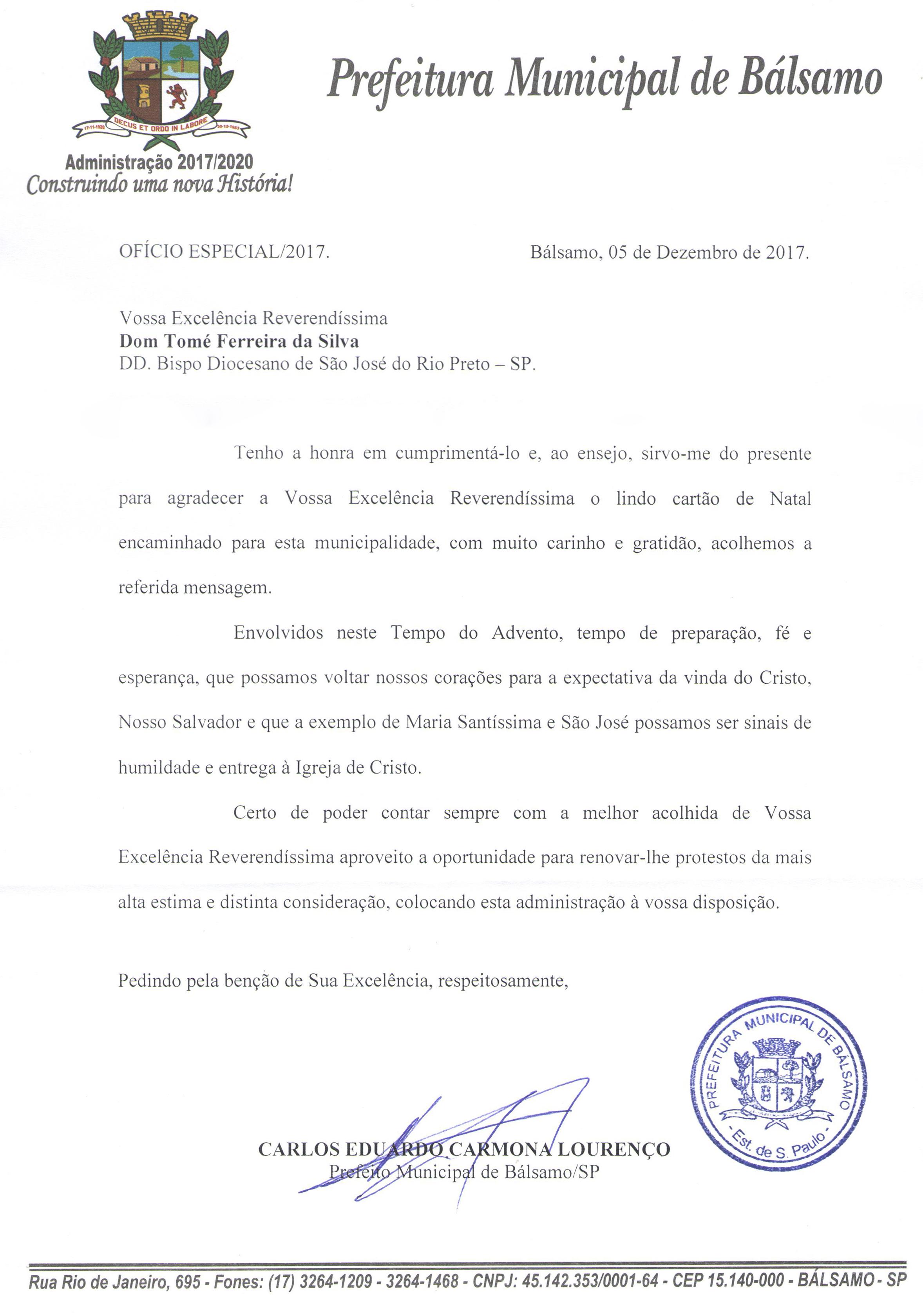 Prefeitura Municipal de Bálsamo envia carta de agradecimento a dom Tomé