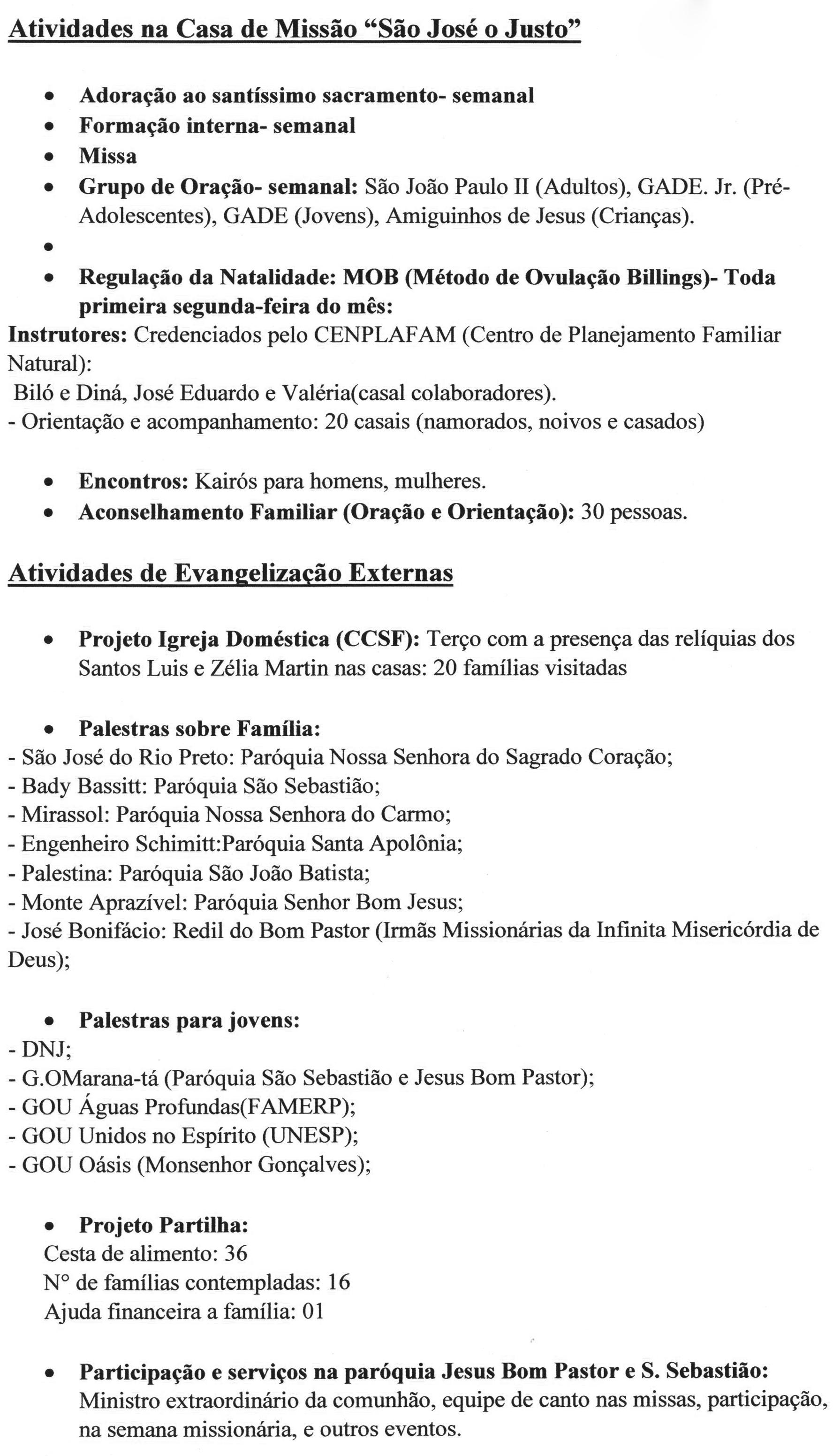 Atividades da Missão Sagrada Família na diocese de São José do Rio Preto