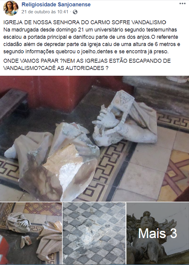 Três igrejas sofrem dano ao patrimônio